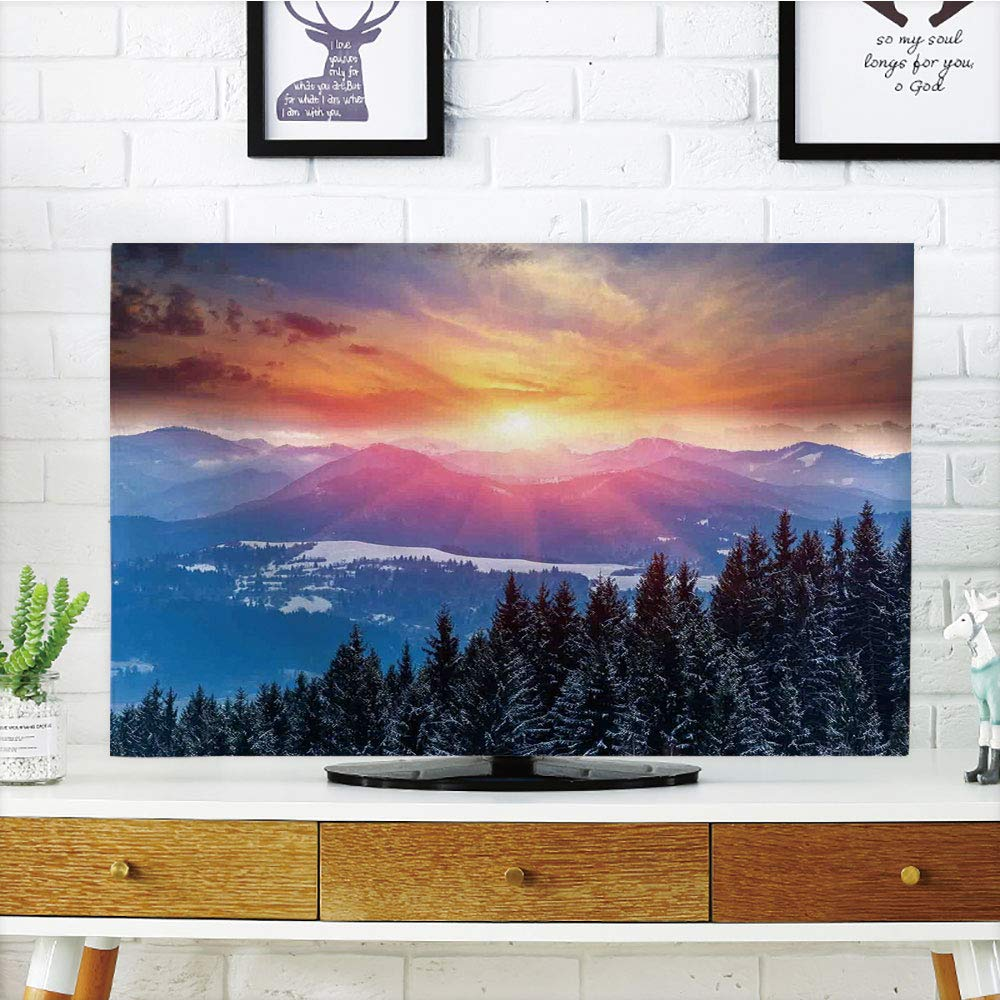 LCD TV dust Cover,Winter Decorations,Sunset in Mountains with Hazy Lights with Magical Dawn Horizon Theme,Orange Blue,3D Print Design Compatible 47'' TV