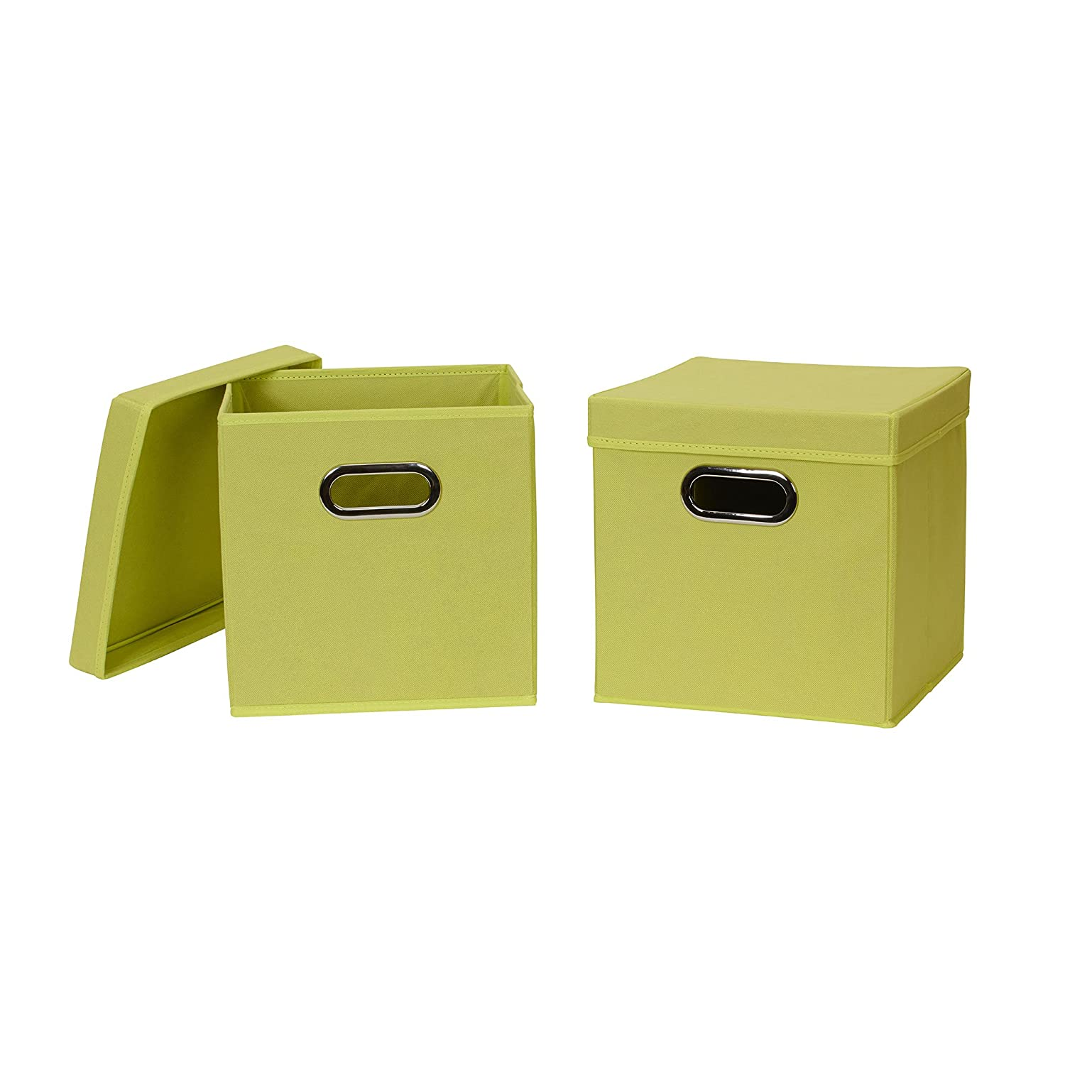 Household Essentials 42 model Collapsible Fabric Storage Cube Bins with Lid, 2 Pack, Lime