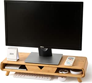 Homerays Monitor Stand, No Assembly Required Exquisite Monitor Stand with Drawer, Ergonomic Height Bamboo Wood Monitor Stand, for Computer Monitor Riser