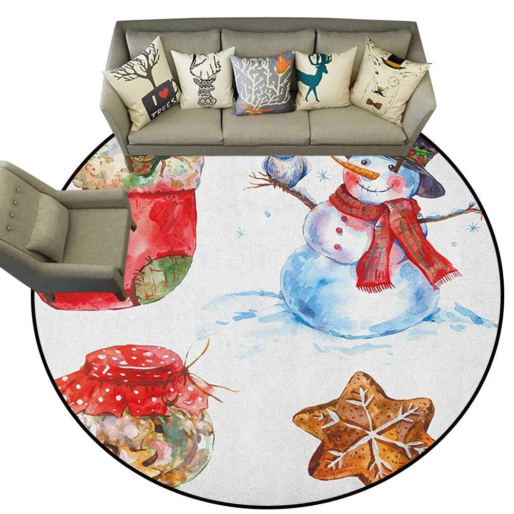 Style01 Diameter 60(inch& xFF09; Christmas,Floor mats for Trucks Winter Doodle Happy New Year Themed Abstract Trees with Snowflakes D54 Door Mat Living Room Non-Slip