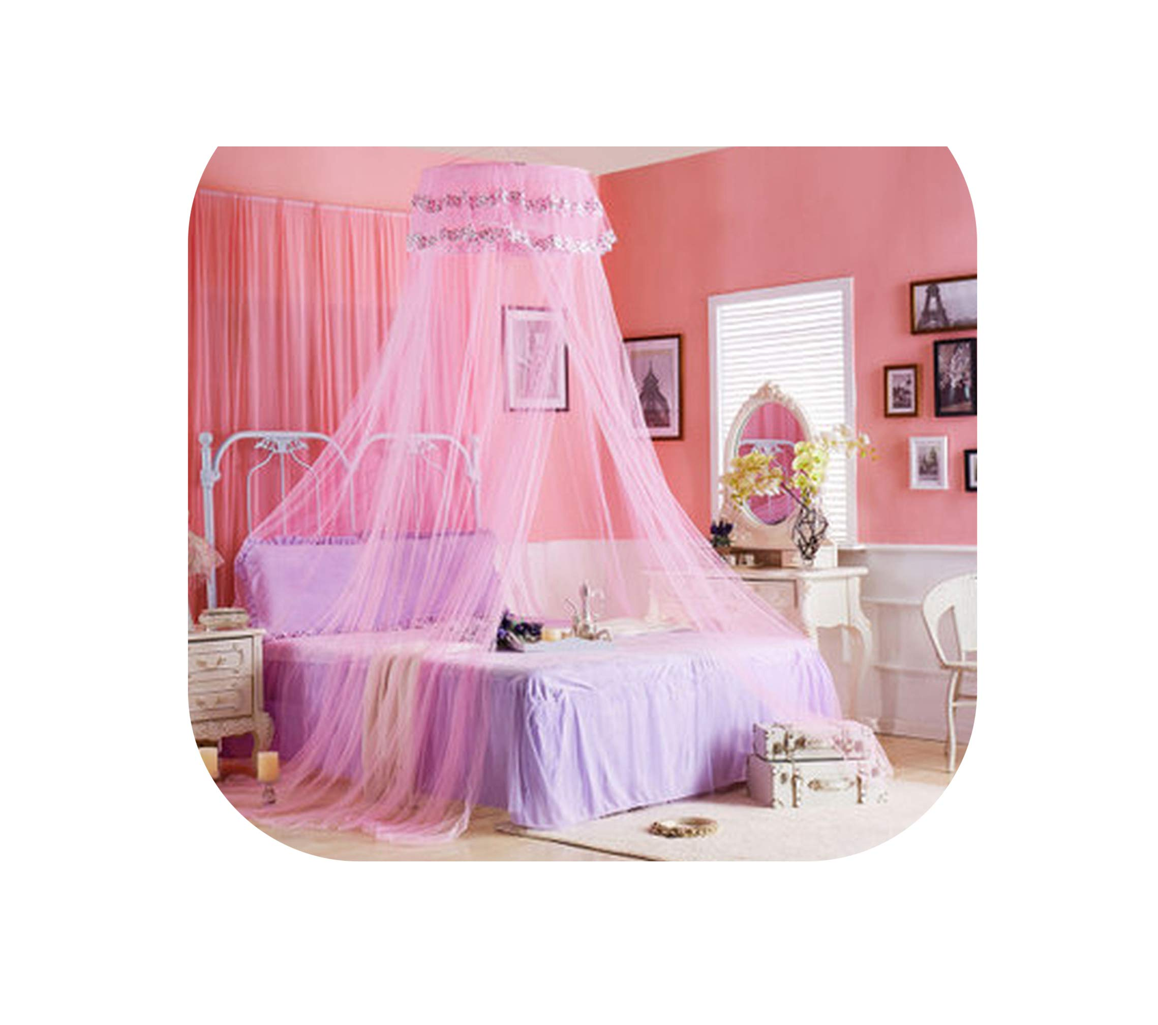 Portable Mosquito Net for Bed Canopy Round Canopy Netting Mesh Lace Curtain Bed Tent Anti Bug Insert Cibinlik Purple Nets,Pink,1.5m (5 feet) Bed by SuWuan mosquito net (Image #1)