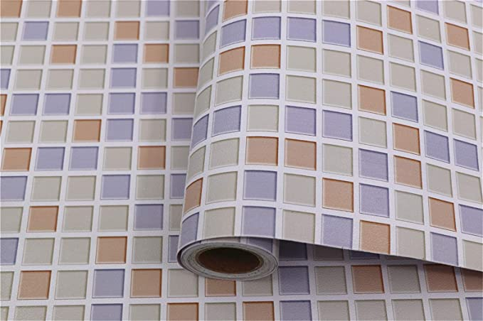 Amazon.com: Mosaic Contact Paper Self-Adhesive Removable Thick Peel and Stick Wallpaper 3D Effect Glossy Waterproof Easy to Clean Kitchen Shelf Liner ...