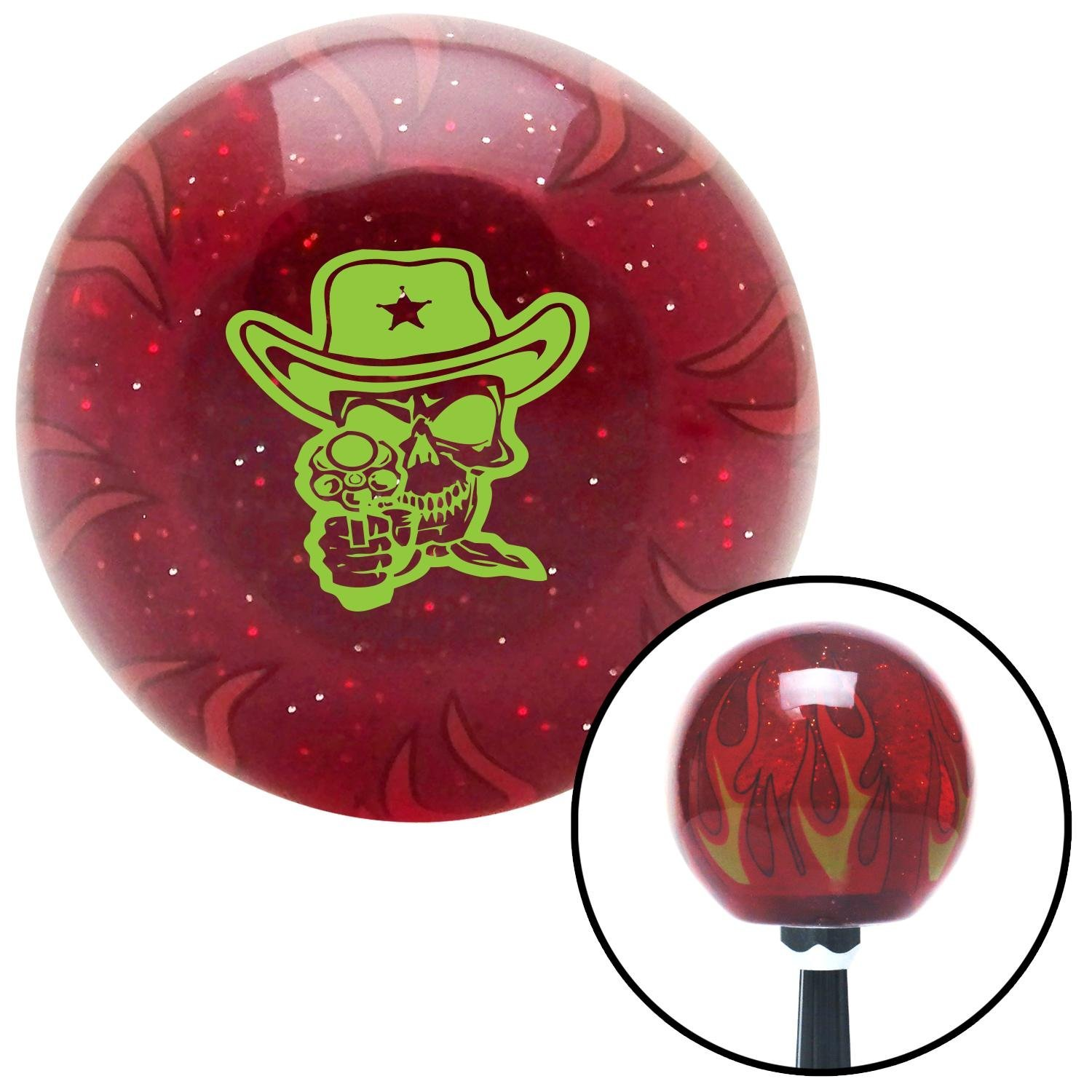Green Cowboy Skull American Shifter 243526 Red Flame Metal Flake Shift Knob with M16 x 1.5 Insert