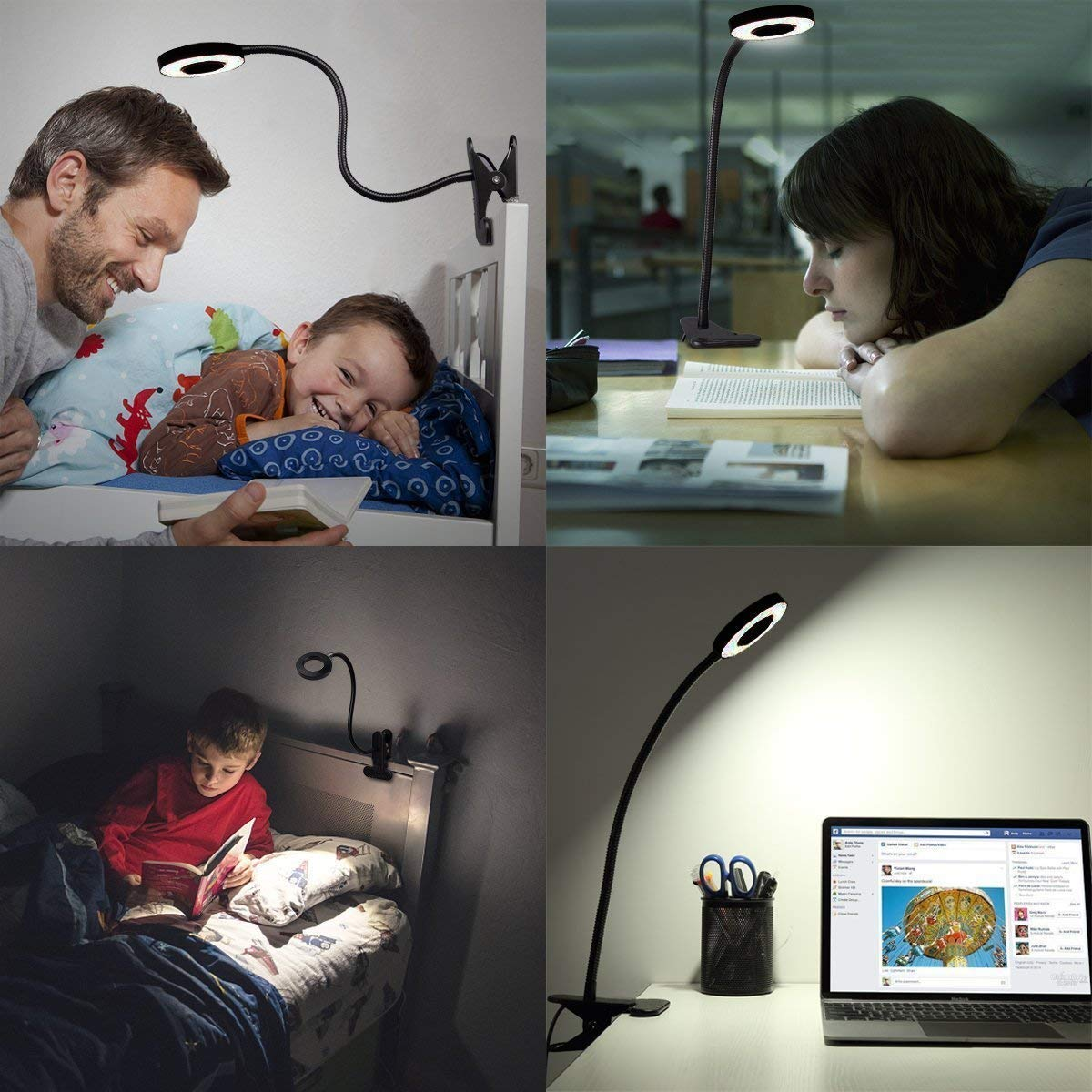 12W LED Reading Light Clip on Light with 3 Lighting Modes 2 Dimming Levels,DZLight Eye-Care Flexible Clip on Lamp for Desk,Bed Headboard and Computers,USB Adapter Included by DZLight (Image #4)