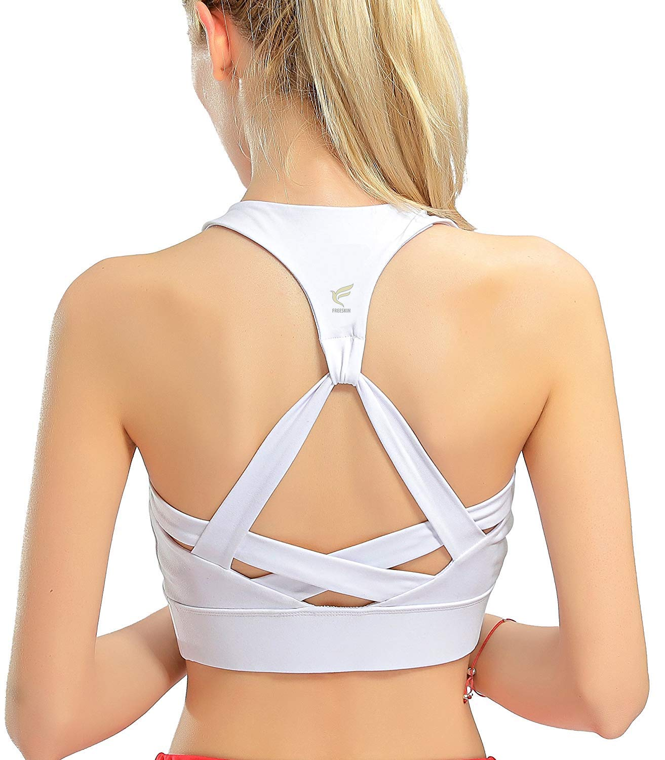 freeskin Fitness Women Sport Bra Fitness Padded Yoga Bra Workout Gym Top(2171White,XL)