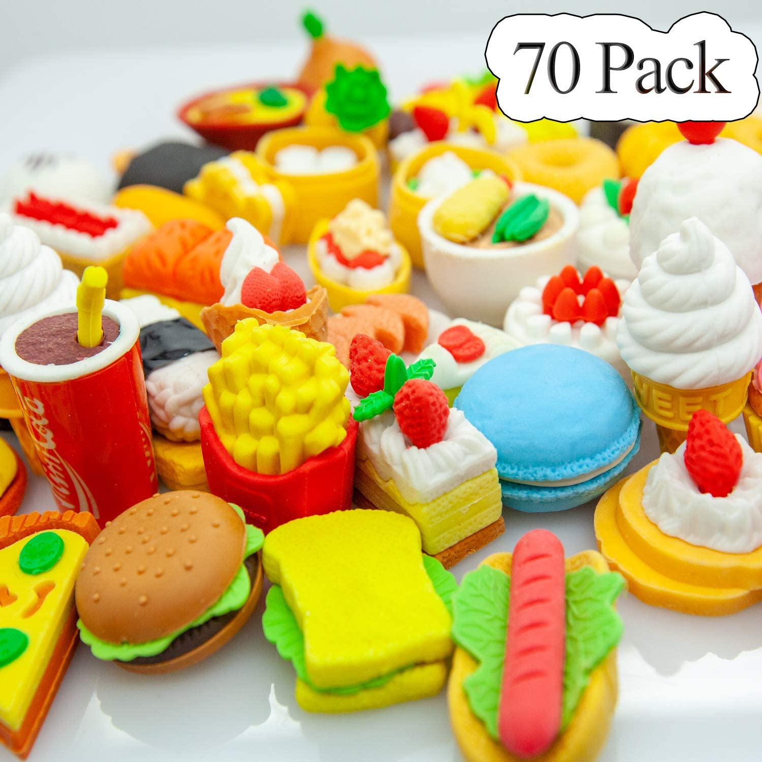 LanMa 70PCS Food Erasers for Kids Fruit Desserts Cake Puzzle Cute Erasers Set for School Classroom Prizes Party Gifts