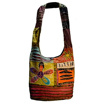100% Flower Design Cotton Crossbody Printed Shoulder Handmade in Nepal
