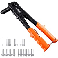 Rivet Gun, Tacklife 40 pcs Pop Rivets with 4 Interchange Nozzles Labor-Saving TPR Handle for 2-3mm Thick Steel Sheets | HHR1A