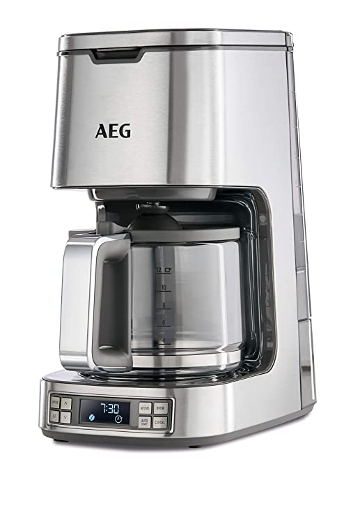 AEG KF7800 Cafetera Digital de Goteo Programable, 1100 W, 1.5 litros, 0 Decibeles, Acero Inoxidable