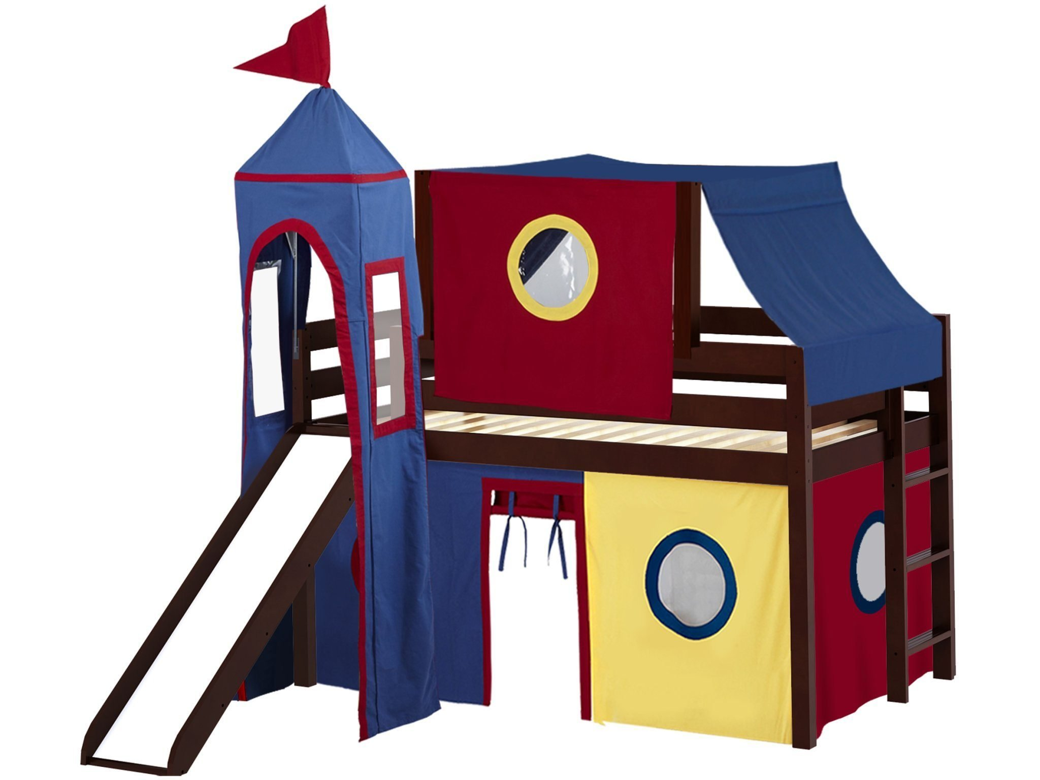 JACKPOT! Castle Low Loft Bed with Slide Red & Blue Tent and Tower, Loft Bed, Twin, Cherry by JACKPOT!