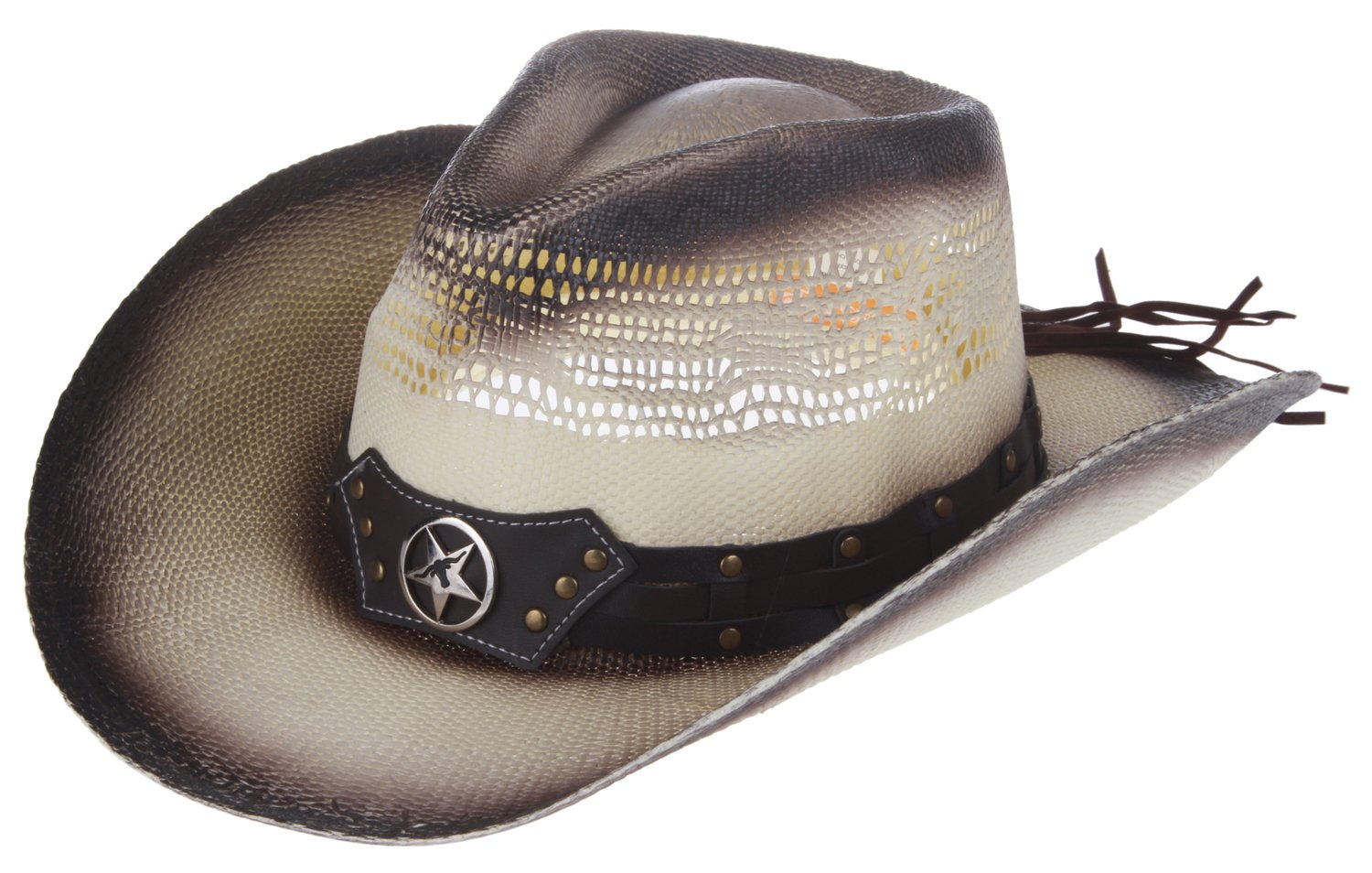 Enimay Men's Womens's Western Outback Straw Canvas Outdoor Cowboy Hat COWBOY-2-LA-ML-340-LPK