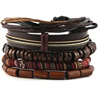 HZMAN Mix 4 Wrap Bracelets Men Women, Hemp Cords Wood Beads Ethnic Tribal Bracelets, Leather Wristbands