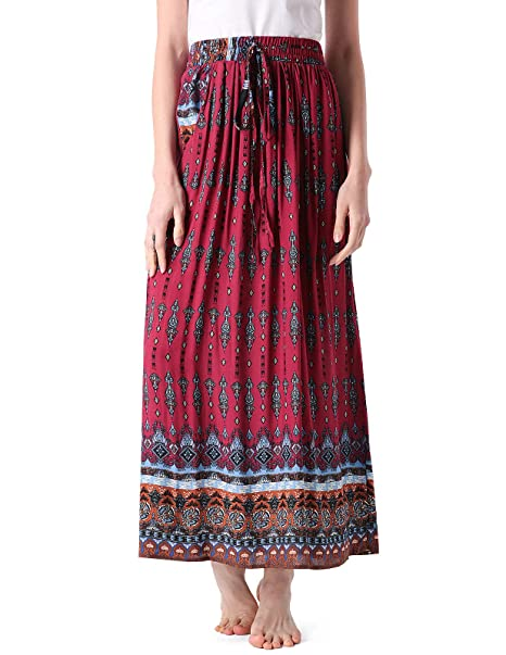 Amazon.com: MAVIS LAVEN falda larga elástica de cintura alta ...