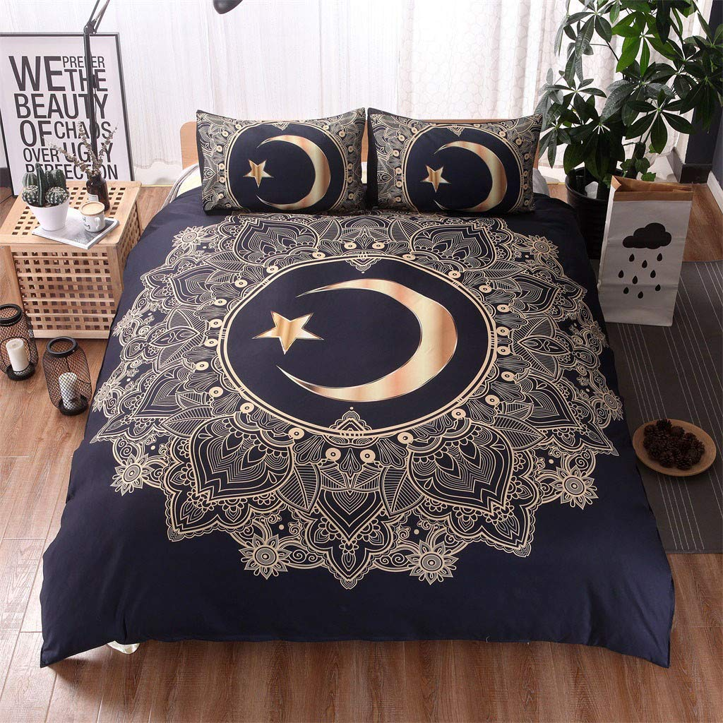 Beyonds Skin-Friendly 3 Piece Bed Set Moon Pattern Soft Three Bed Set for Deeper Sleep Includes x1 Duvet Cover x2 Pillowcases - Home School Bed Decor