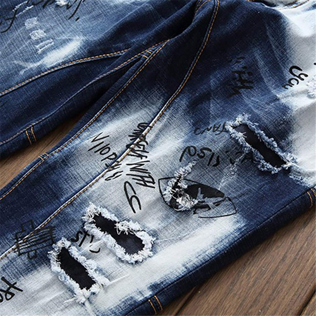 OKilr Lies Mens Fashion Holes Patchwork Blue White Ripped Slim Straight Denim Pants