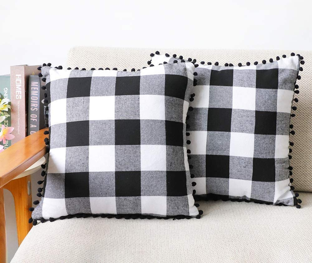 """Gingham Buffalo Plaid Throw Pillow Case Linen Blend Decorative Checkered Cushion Cover with Pompom Trims Home Decor for Couch Sofa 22"""" x 22"""" Black Ball Fringe 2 Pack,Black and White"""