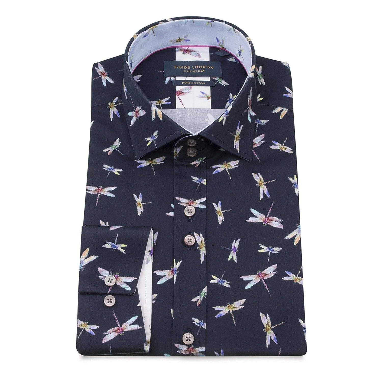 Navy L Guide London Libellule Impression Manches Longues Chemise en Coton Pur pour Homme