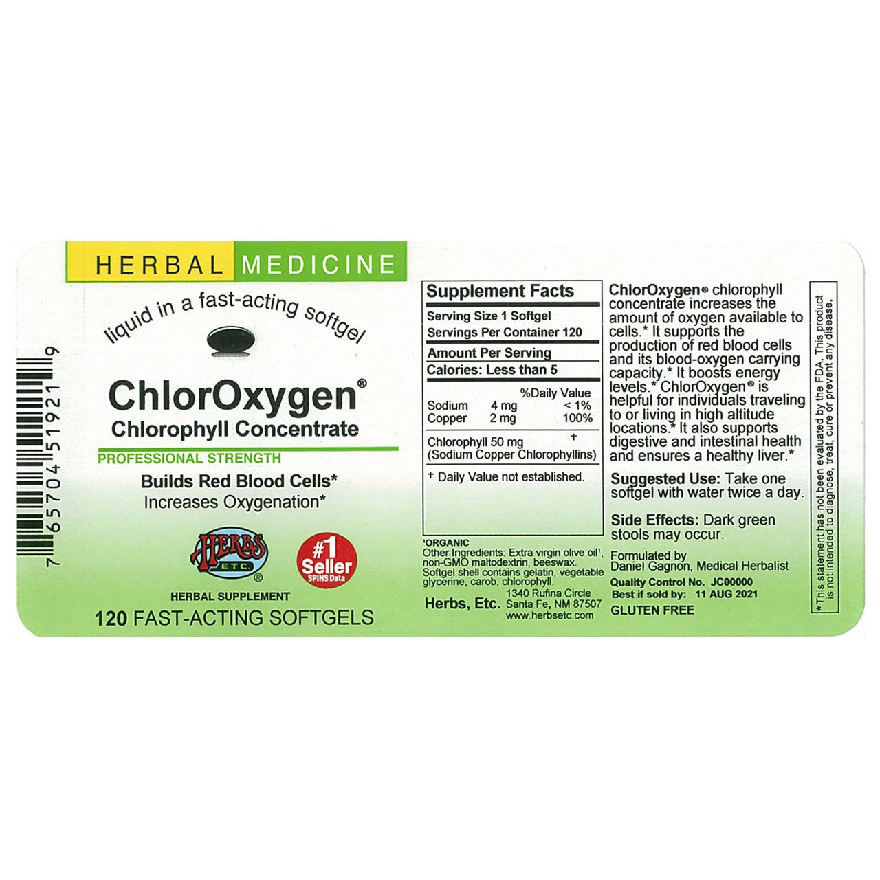 Herbs Etc ChlorOxygen Chlorophyll Concentrate Alcohol Free 120 Fast-Acting Softgels