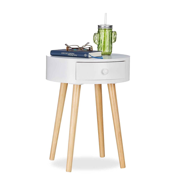 Relaxdays Tavolino rotondo, Cassetto, design scandinavo, Tavolino da salotto oppure comodino, HxØ: 52x 40cm, in legno, colore: bianco 10021839