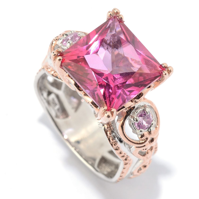 Michael Valitutti Palladium Silver Princess Cut Pink Topaz & Pink Sapphire Cocktail Ring by Michael Valitutti