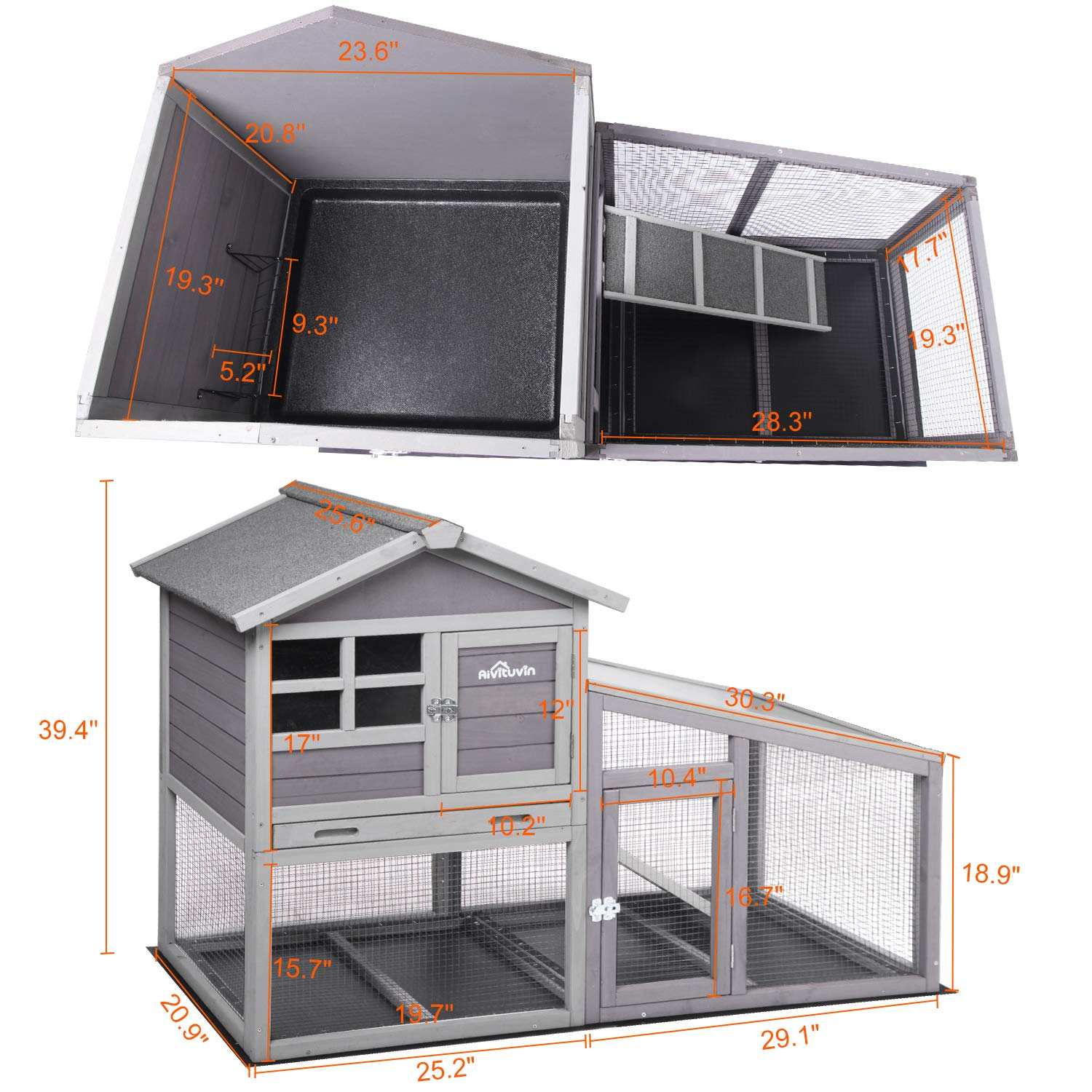 Aivituvin Chicken Coop Indoor and Outdoor,Rabbit Hutch with Removable Bottom Wire Mesh & PVC Layer,Deeper No LeakageTray,Wooden Hen House with Nesting Box,UV Panel by Aivituvin (Image #4)