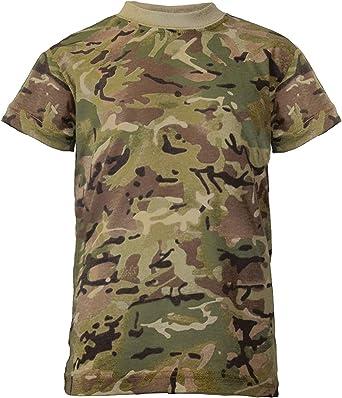LOTMART - Camiseta de algodón para niños con Estampado de Camuflaje Militar británico Negro Camuflaje BTP 12-13 Años: Amazon.es: Ropa y accesorios