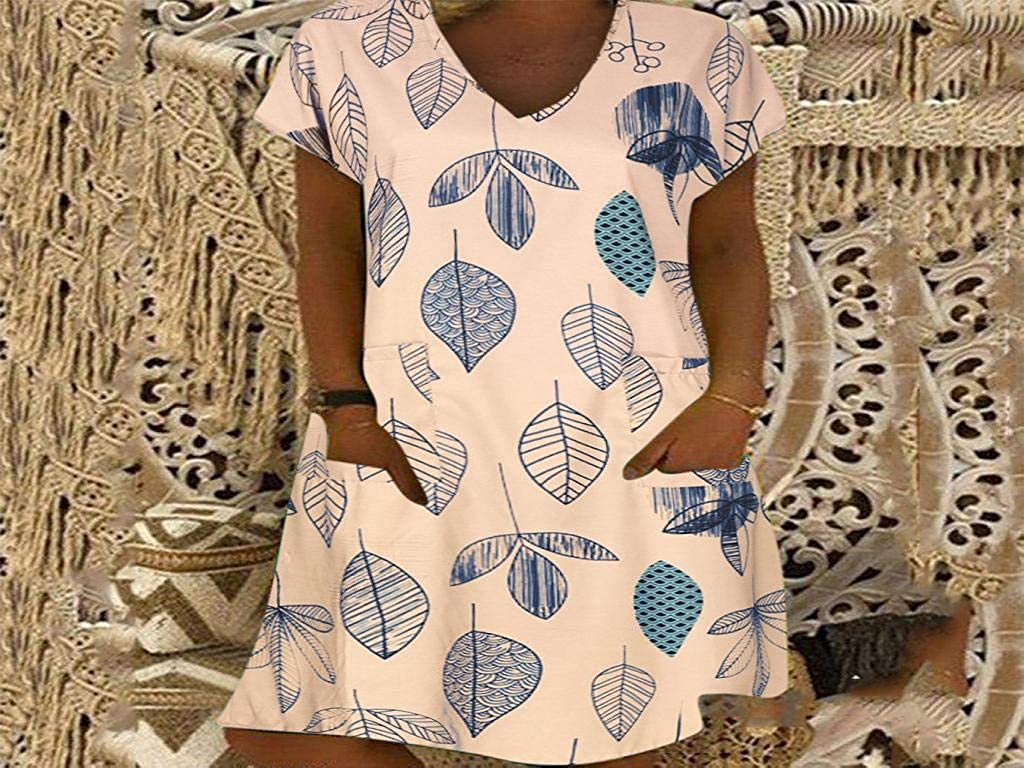 Leaves Floral Short Sleeve Tunic Dress Pockets Summer Swimsuit Cover Ups Cozy T Shirt Dress Boho Dresses for Women