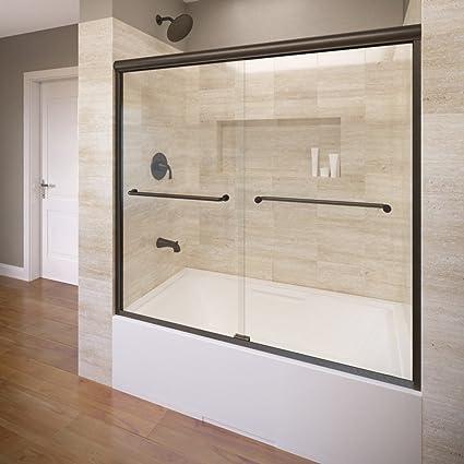 Basco Infinity 56u0026quot; to 58-1/2u0026quot; Frameless Sliding Glass Tub Door & Basco Infinity 56