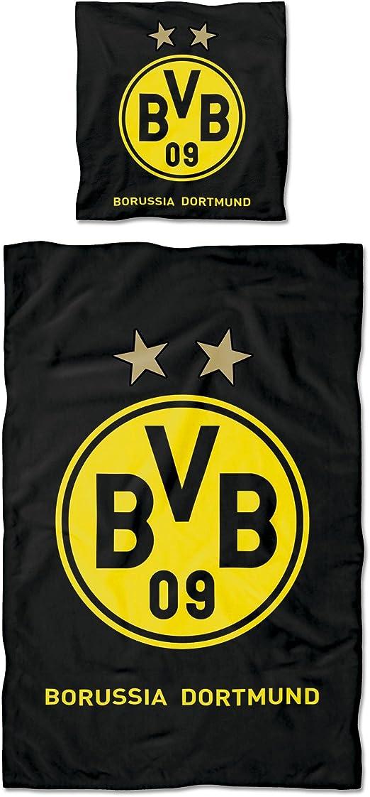 Gelb 135x200cm BVB-Biber-Bettw/äsche Gelbe Wand Borussia Dortmund 135x200cm /& BVB-Bettw/äsche S/üdtrib/üne Mehrfarbig
