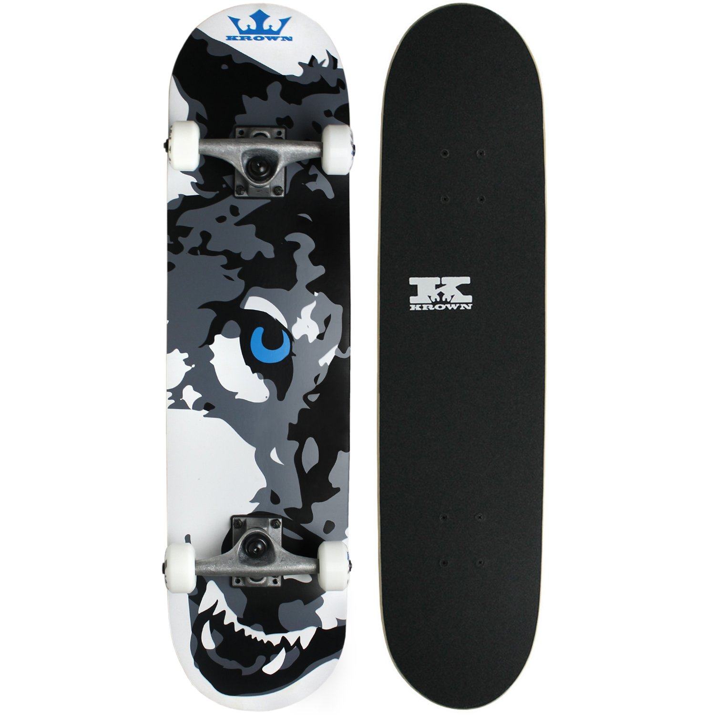 Krown Wolf Skateboard, White, 7.5''