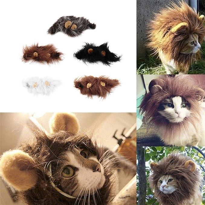 Formulaone Disfraz de Mascota Encantadora Lions Mane Peluca para Gato Fiesta de Navidad de Halloween Viste con Oreja Vestido de Mascota Gato Disfraces: ...