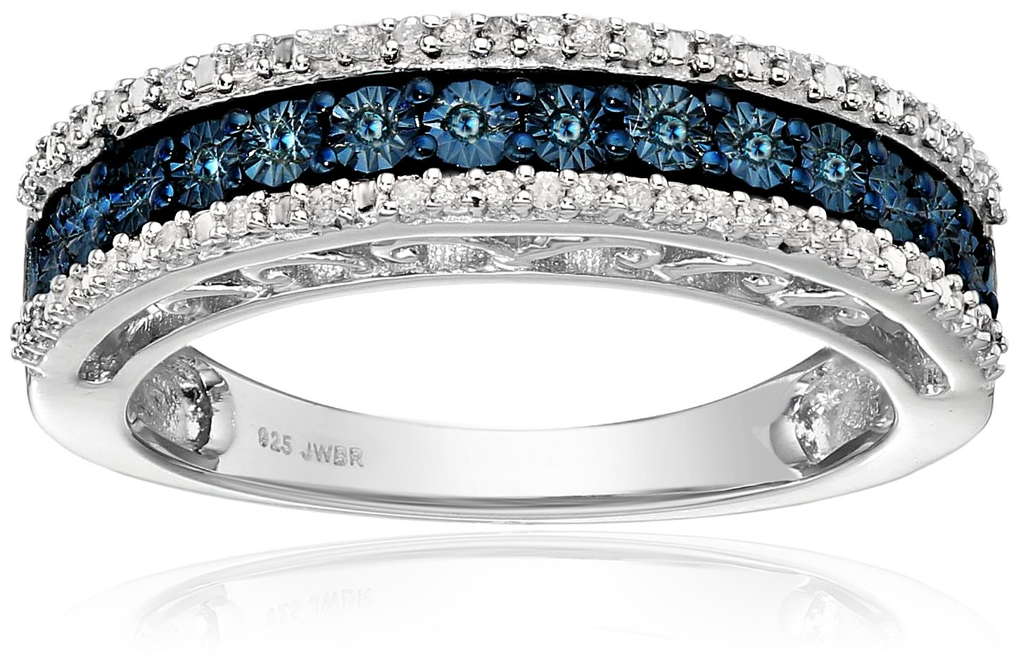 Jewelili Sterling Silver Blue and White Diamond Anniversary Ring (1/10 cttw,), Size 6 by Jewelili