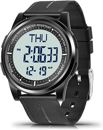 WIFORT Reloj Digital para Hombre Mujer,5ATM Impermeable Esfera ...