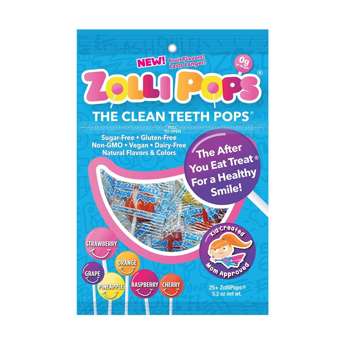 Zollipops The Clean Teeth Pops, Anti Cavity Lollipops, Delicious Assorted Flavors, 25 Count (4-Pack (25 Count))