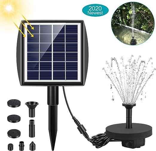 Bomba de Fuente Solar,2W Fuente de Jardín Solar,Bomba de Agua para Fuente Flotante Solar con 7 boquillas Ideal, Kit de Fuente Sumergible para Pequeño Estanque, Tanque de Peces, Acuario de Estanque: Amazon.es:
