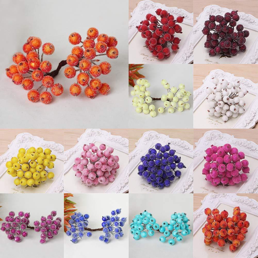 Vin Rouge Spary Ornement 40 Pi/èces Fruit Maison Sapins de No/ël Givr/é Plante Artificielle Mousse Simulation Baies DIY Accessoires D/écoration