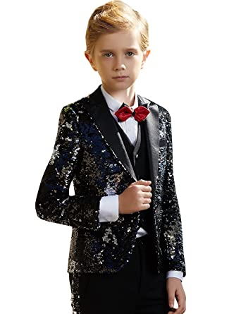 bb8be204e957 Amazon.com  ELPA ELPA Sequins Suits for Boys Christmas Shiny Dress Suit Slim  Fit Party Wedding Tuxedo  Clothing