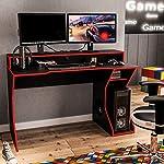 Mesa Gamer Fremont Preto-Vermelho Politorno