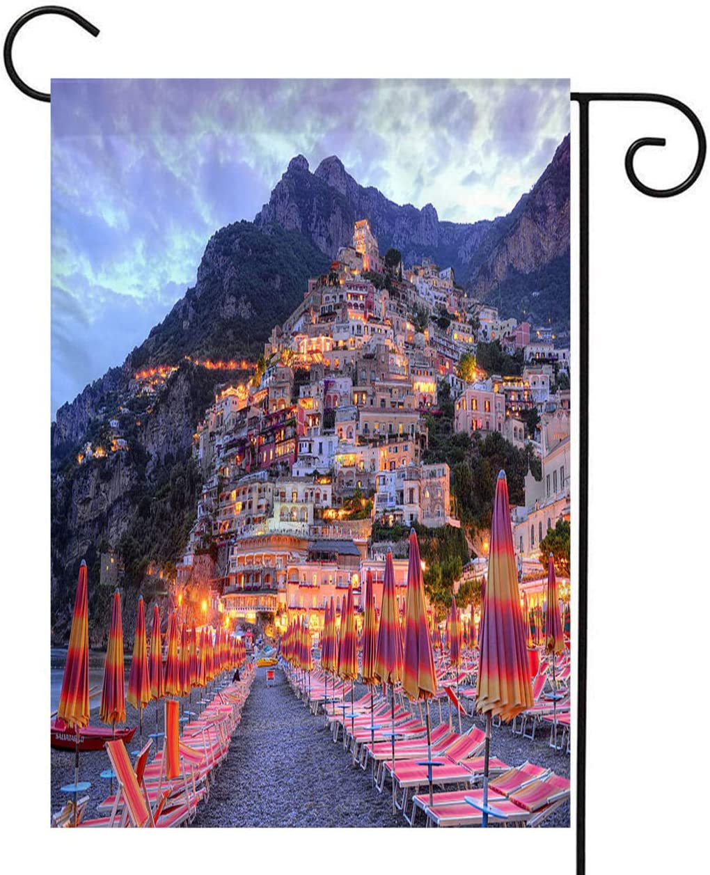 Italy Coast Garden Flag,Welcome Double Sided Polyester Garden Flag,Beautiful Positano Amalfi Coast Italy,House Yard Outdoor Farmhouse Holiday Flag,28x40 Inch