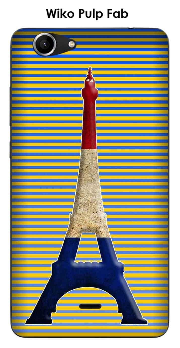 Onozo Carcasa Wiko Pulp Fab Design Paris Torre Azul Blanco ...