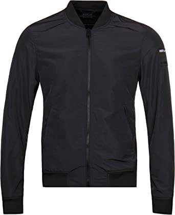 Replay Polyester Bomber Style Black Jacket S Black