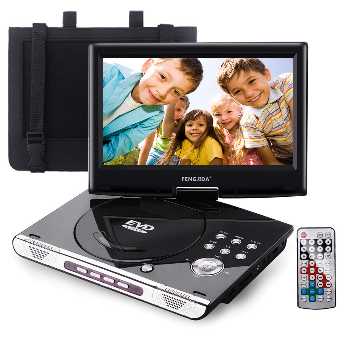 FENGJIDA 10.5'' Portable DVD Player with Headrest Mount Holder, Built-in Rechargeable Battery, 270°Swivel Screen, 5.9 ft Car Charger SD Card Slot and USB Port (Black)