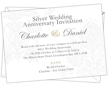 Image Unavailable. Image not available for. Colour: Personalised Silver Wedding 25th Anniversary Invitations ...