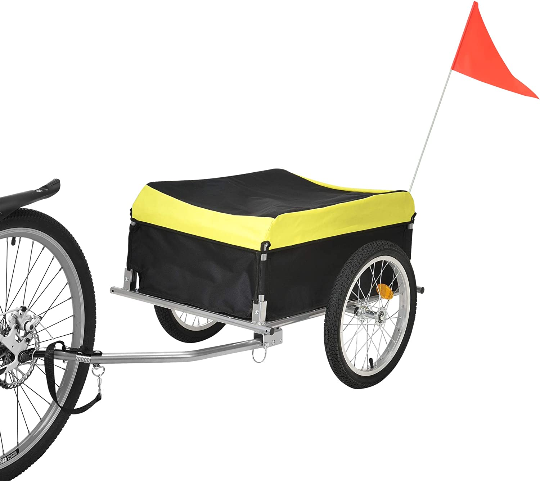 Remolque de Bicicleta para el Transporte de Equipaje y Carga hasta 40 kg con Funda Resistente a la Intemperie Amarillo y Negro pro.tec