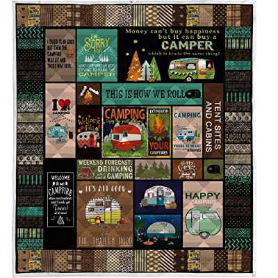 "LIVIN' ILLUSION Camping Quilt Pattern Blanket Quilted Christmas Birthday Customized Little Kids Graduation Gifts All Season Warm Quilt Blanket for Bed Sofa (US Queen 80""×90""(200cm×230cm)): Home & Kitchen"