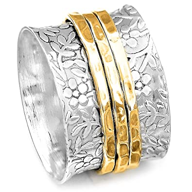 439882c915843 Boho-Magic 925 Sterling Silver Spinner Flowers Ring for Women with 3 Brass  Fidget Rings Wide Band