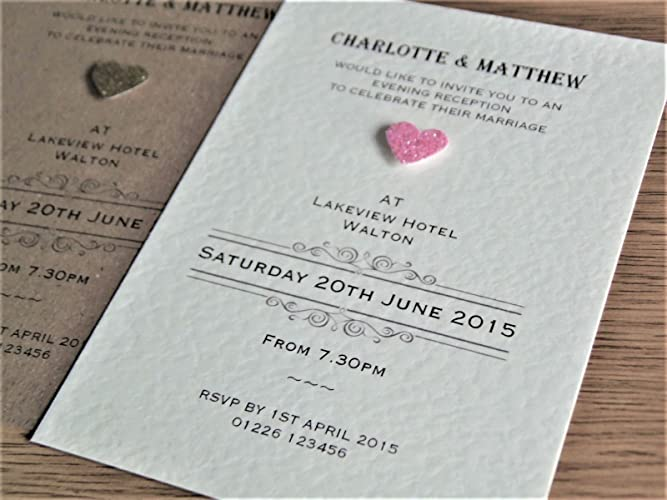 10 Personalised Wedding Invitations With Envelopes Vintage Glitter