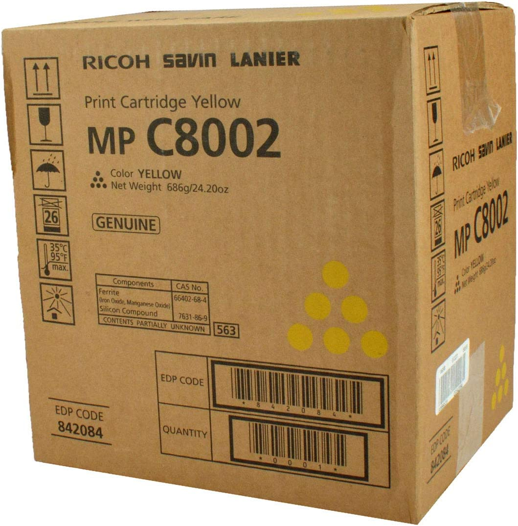 29K Yield OEM Ricoh Aficio 841781 Yellow Toner Cartridge 842084