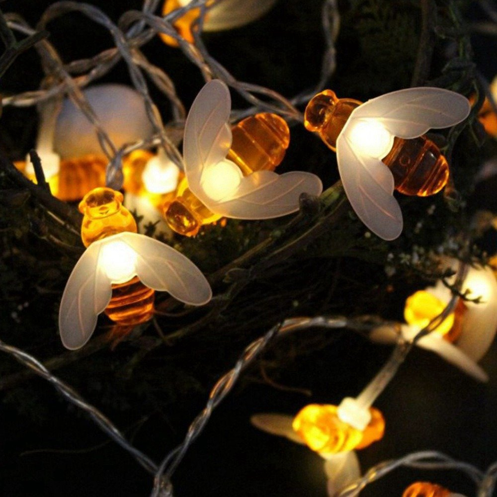 Loriver Battery Operated Bee-Shaped String Lights Christmas Children's Room Party Animal Decorative Lights, 1 Meter 10 Lights by Loriver (Image #2)