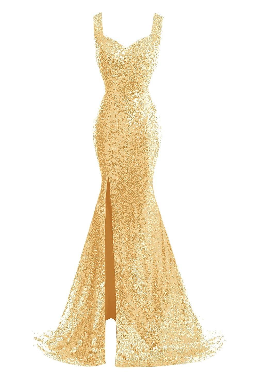 gold Bess Bridal Women's Sequined Mermaid Split Sheer Back Long Prom Evening Dress
